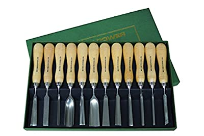 RIKON Power Tools 77-001 Carving Chisel set with Bonus DVD, 12 Piece