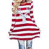 FAPIZI ♥ Women Dress ♥ Women Fashion Stripe Dress Round Collar Christmas Elk Long Sleeve Casual Dress (XXXL, Red)
