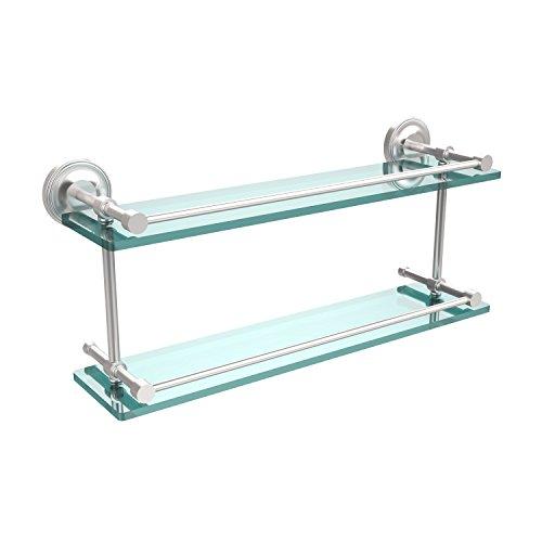 Allied Brass PRBP-2/22-GAL-SCH Prestige Regal 22 Inch Double Glass Shelf with Gallery Rail, Satin -
