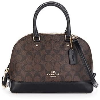 6b97ca398680 Coach F27583 IMAA8 Mini Sierra Satchel Brown Black Signature Crossbody  Handbag