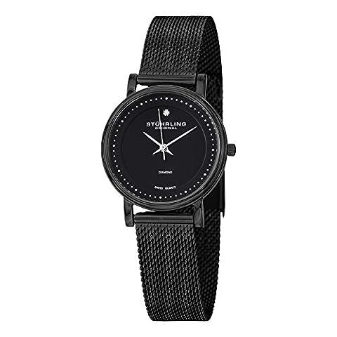 Stuhrling Original Luxury Fashion Women's Watch Swiss Quartz (Black/Black) (30mm Watch Face Protector)