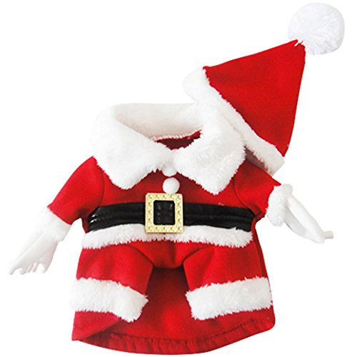 Minisoya Christmas Pets Dog Santa Cosplay Clothes New Year Costume Puppy Coat Apparel (Red, S)