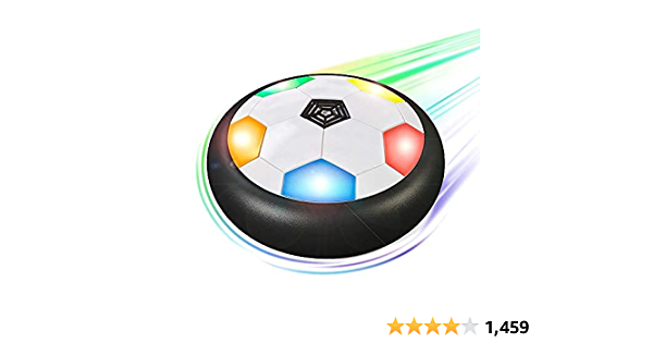 Hover Soccer Ball for Kids   Flashing Colored LED Lights   for Smooth Surfaces   New Football Toy, Indoor Battery Operated Air Floating Hovering Disc for Girls and Boys, Soft Foam Bumpers, Ages 3-13