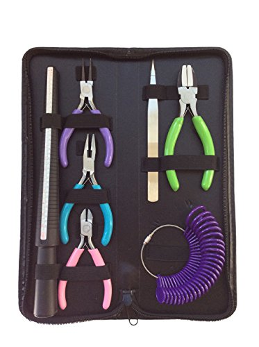 EssentialsTen Jewelry and Beading Making Tool Kit (7 pieces) with Zippered Leatherette Pouch (Including Ring Mandrel, Ring Sizer, Nylon Pliers, 3 Jewelers Pliers, and Tweezers)