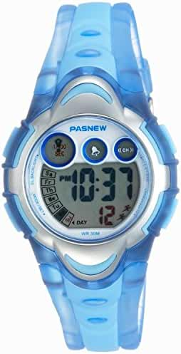 LED Waterproof Sports Digital Watch for Children Girls Boys (Light Blue)