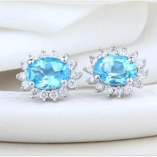 S925 Sterling Silver Stud Earrings Simulate 925 Austrian Blue Crystal Stud Earrings with Box Zircon Earrings Stud