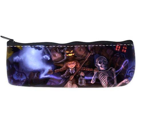 COLORSFORU Romantic Simple Vintage Halloween Devil Skeleton Witch Pumpkin Lantern Black Cat Ghost Custom Pencil Case