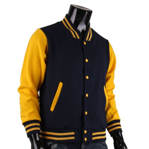 BCPOLO Men's Varsity Jacket Navy-Yellow Baseball Jacket Letterman ...