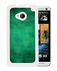 New Custom Designed Cover Case For HTC ONE M7 With Quare Green A Art Pattern Wallpaper (2) Phone Case