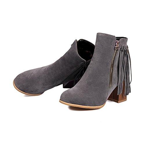 Balamasa Dames Kwastjes Dikke Hakken Romaanse Stijl Frosted Boots Grijs