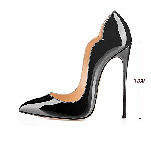 55c4bd8d45 Modemoven Women's Black Sexy Point Toe High Heels,Patent - Import It All