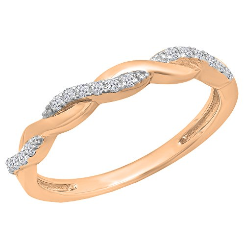(Dazzlingrock Collection 0.15 Carat (ctw) 10K Round White Diamond Ladies Swirl Wedding Stackable Band, Rose Gold, Size 8)