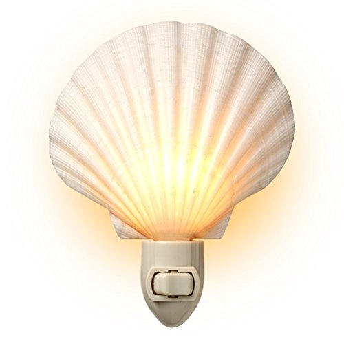 Sea Scallop Shade - Tumbler Home Natural Sea Shell Night Light (White)