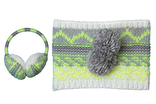 TipTop Girls Knitted Fair Isle Winter Earmuffs and Neck Warmer Scarf Accessory Set 6yrs+ (Knitted (Fair Isle Scarf Pattern)