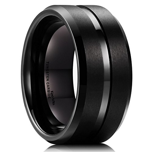 King Will 10mm Black Tungsten Carbide Wedding Band Ring Polished Finish Grooved Center Comfort Fit(12) - 10 Mm Band Ring