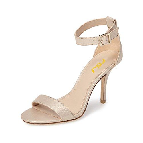 Size FSJ 4 US Strap 15 Summer Open Beige Heels Mid Ankle Sandals Buckle Shoes Stiletto Toe Comfort Women a6qawxrtO