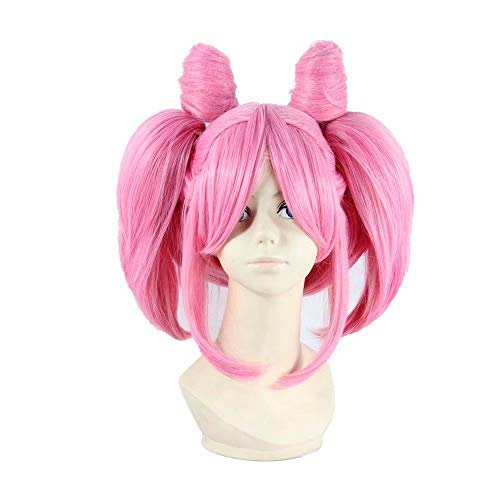 NiceLisa Light Pink Short Girls Anime Show Halloween Cosplay wig with Clip On Ponytails ()