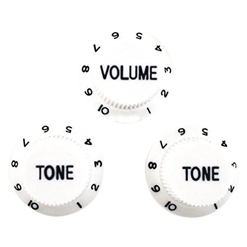 TOOGOO White Black 1 Volume&2 Tone Guitar Control Knobs For Strat Style Guitar (White Strat Electric Guitar)