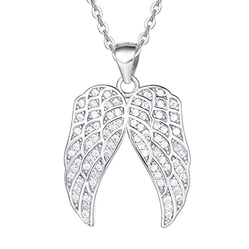 Agvana Sterling Silver Angel Wings Pendant Necklace Sparkling CZ Jewelry Gifts for Women Girls with Gorgeous Jewelry Box, 16