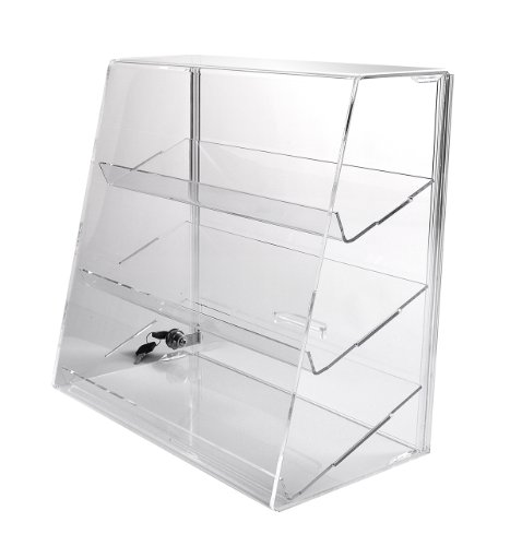 Acrylic Display Case with 3 Angled Shelves & Locking Door - ACAS7 by Choice Acrylic Displays
