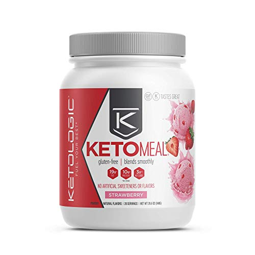KetoLogic Keto Meal Replacement Shake with MCT, Strawberry | Low Carb, High Fat Keto Shake | Promotes Weight Loss & Suppresses Appetite | 20 Servings