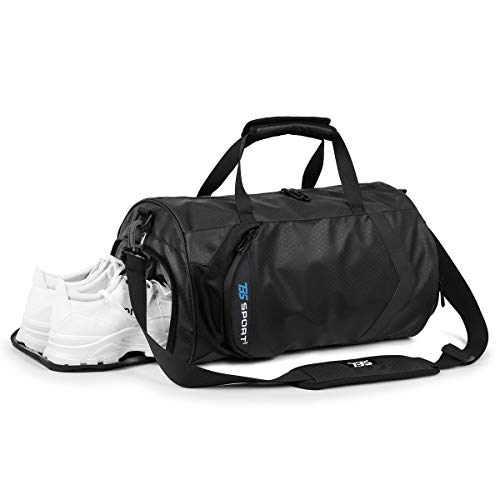 HUANGHENG Fitness Sports Gym Bag with Shoes Compartment and Wet Pocket Waterproof Small Travel Duffel Bag for Men and Women black