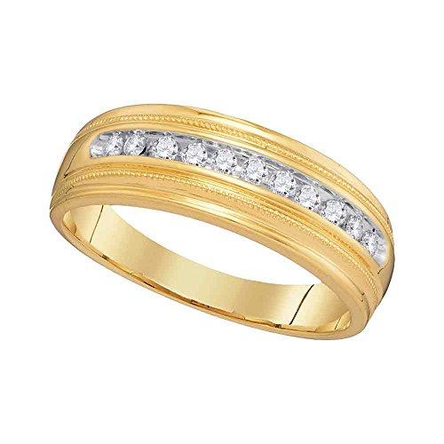 10kt Yellow Gold Mens Round Diamond Single Row Milgrain Wedding Band Ring 1/4 (Mens Single Diamond Band)
