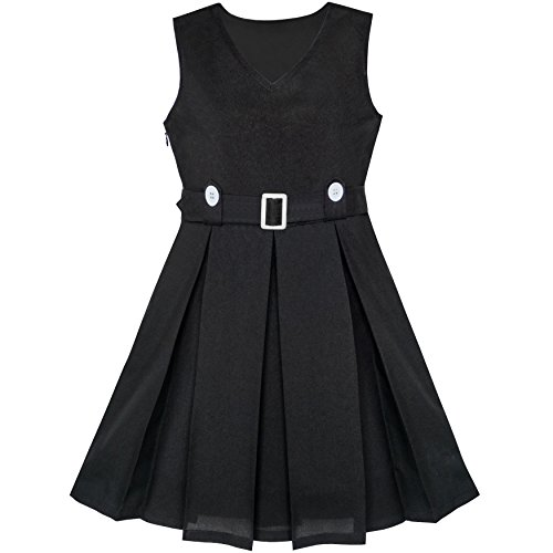 LA13 Girls Dress Black Button Back School Pleated Hem Size 8 for $<!--$10.99-->