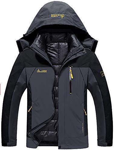 GEMYSE Men's Double Layer Jacket Waterproof Puff Liner Winter Cotton Coat(Black Grey,XL) (Double Layer Jacket)
