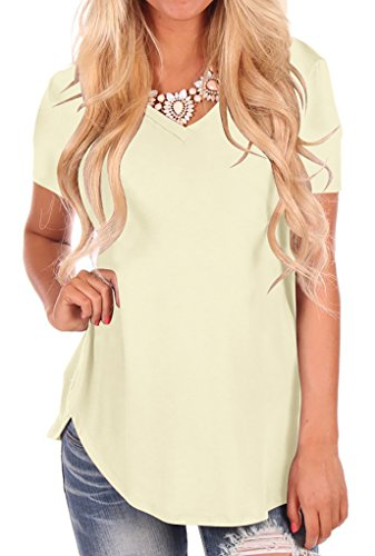 shirt V Neck Women Irregular Hem Tee Shirts Plus Size Apricot M (Short Sleeve Stretch Knit T-shirt)