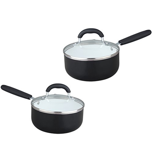 HULLR Aluminum Ceramic Nonstick All In One Kitchen Cookware Set Includes Stock Pot, Dutch Oven, Frying/Sauté Pan, Saucepan, Serving Utensils, Measuring Cups/Spoons, Induction Base (30 Ct) Black