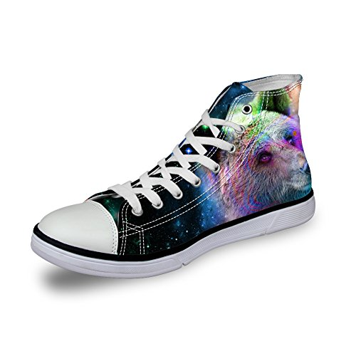 Animal High Top Casual Sneakers Bigcardesigns Bear Bigcardesigns Galaxy Canvas Galaxy qt7p66