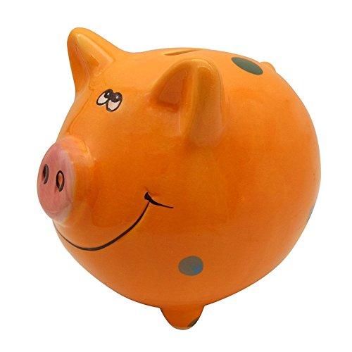 Zching Cute Ceramic Pig Piggy Bank Personalized Money Saving Bank For Kids Girls Nursery Gift Decor  Orange