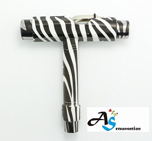 A&S Creavention? Skateboard T-Tool All in one Screwdriver Socket Multi functions skate tool (Zebra)