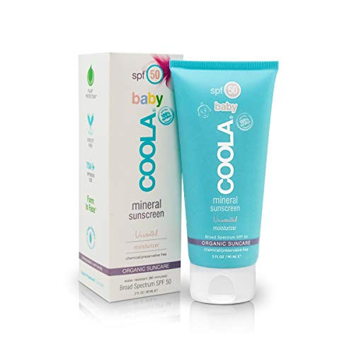 COOLA Organic Baby Mineral Sunscreen | Unscented Moisturizer | Broad Spectrum SPF 50 | Water-Resistant | For Babies 6 Months and Older | Sensitive Formula | Farm to Face Sourced | 3 Fl Ounces ()