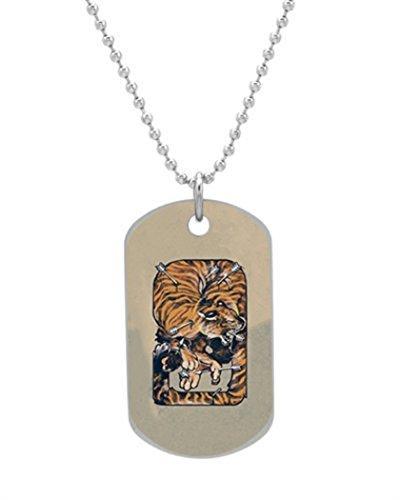 Alokozy® Saint Sebastian Tiger Dog Tag Necklace includes 27' Silver Color Ball chain DT1864