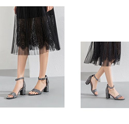 la Verano Casuales DHG de Sandalias de Tacones Mujer de Grueso Se Zapatos 38 oras Correa con Altos Palabra Sandalias Hebilla Gris FPqr6Fdxw
