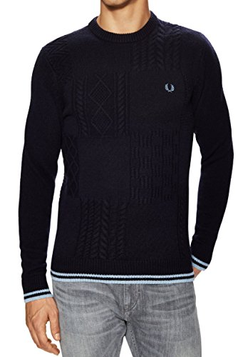 Fred Perry Men's Check Sailor Knit Sweater, Carbon Blue, Large