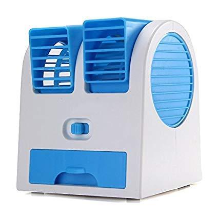 KJD Plastic Mini Fan Air Cooler Mini USB Fragrance Desktop Dual Air Conditioner
