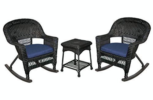 3-Piece Tiana Black Resin Wicker Patio Rocker Chair & Table Furniture Set - Blue Cushions price