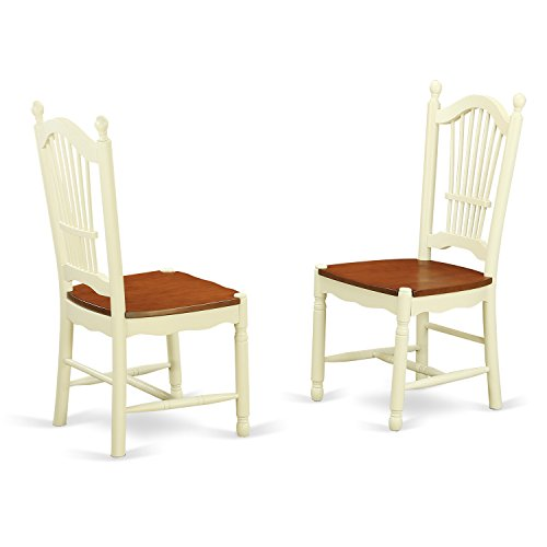 DOC-WHI-W Dover Dining Room Chairs With Wood Seat in Buttermilk and Cherry-Set of 2