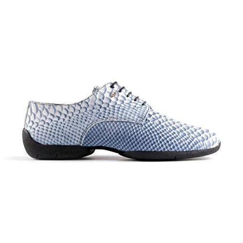 PortDance Herren Sneakers/Dance Sneakers PD Salsa 001 - Leder Blau/Weiß - Sneaker Sohle