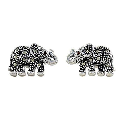 NOVICA Multi-Gem Marcasite .925 Sterling Silver Button Earrings, 'Glistening (Novica Marcasite Earrings)