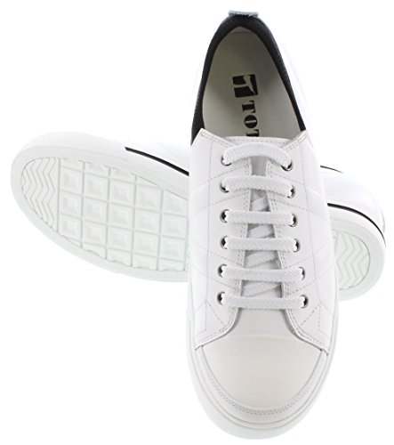 classic online TOTO D8171-2.4 inches Taller - Height Increasing Elevator Shoes - White/Black Leather Lace-up Sneakers clearance finishline uOyCNA9x