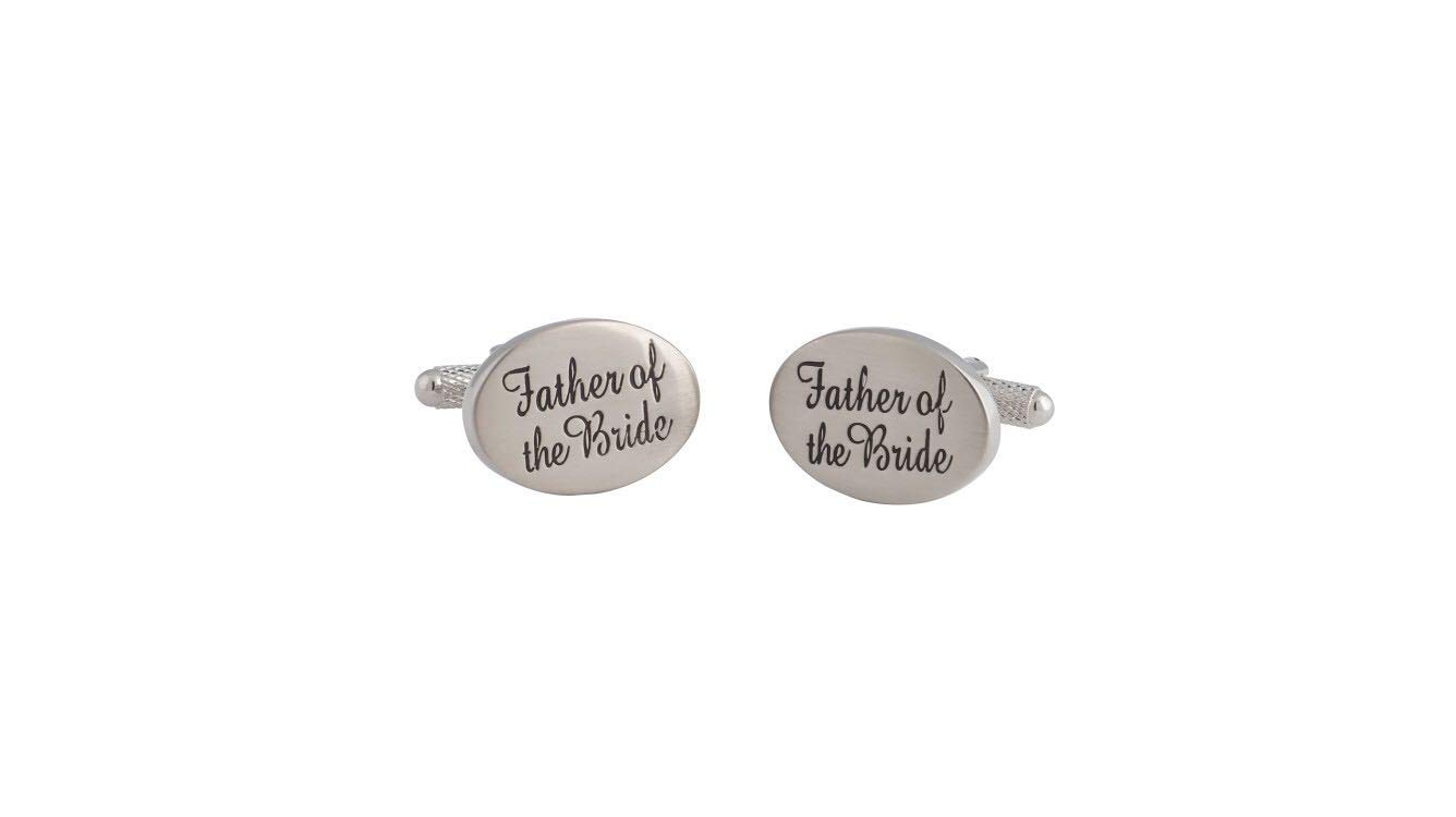 Amytong Engraved Cufflink, Father of The Bride Cufflink, Brass Plated White Steel, Europe Funky Cufflink