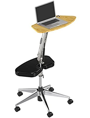 RoomyRoc Standing Desk with Height Adjustable Footrest for Home Office Mobile Laptop Computer Desk (black)