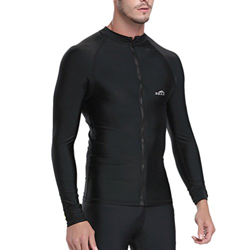 Zhhlinyuan Fashion Multi-color Mens Surfing Wetsuit Jacket Swimwear Diving Top Black