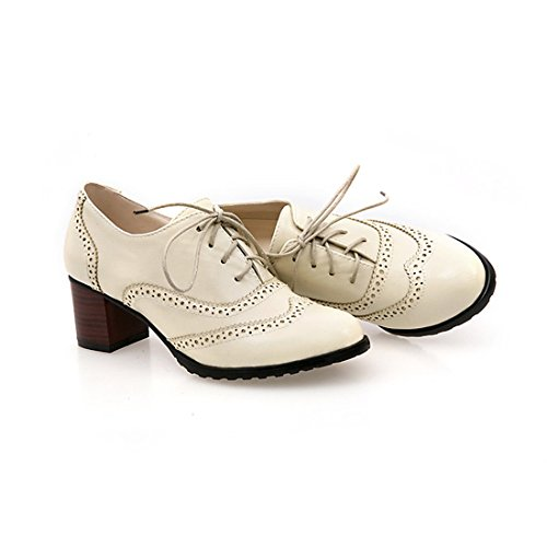 Sexy Wingtip Shoes (England Brogue Shoe Womens Lace-up Mid Heel Wingtip Oxfords Vintage PU Leather Shoes)