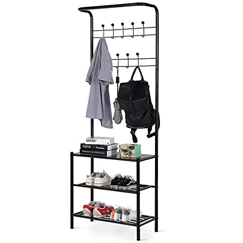 Tangkula Entryway Hall Tree Multi-Purpose Metal Coat and Shoe Bench Rack 3-Tier Storage Shelves Bag Clothes Umbrella and Hat Rack for Entryway Corner Hallway Garment Rack (9 Hooks with Bench)