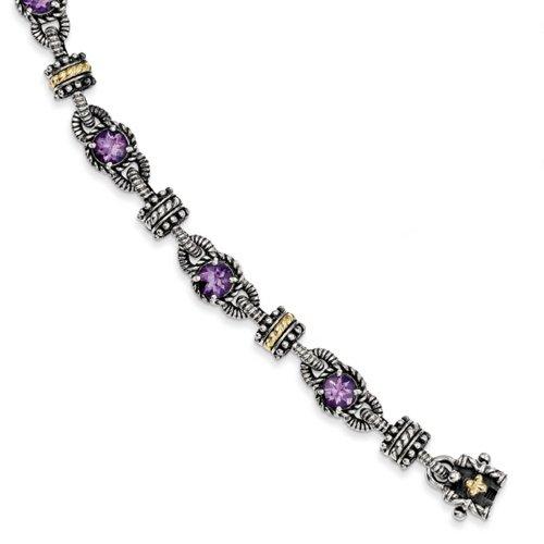 Icecarats Créatrice De Bijoux En Argent Sterling W / 14K 4.00Amethyst 7.5In Bracelet En 7,5 Pouces